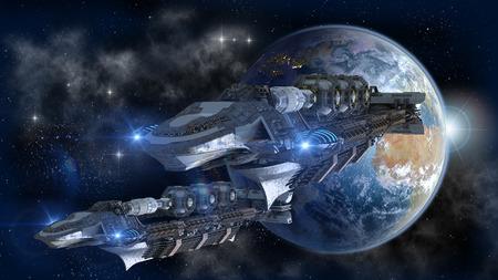 Flota de la nave espacial dejando la Tierra
