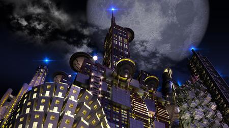 迫り来る巨大な月の夜の未来都市