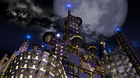 looming: Futuristic city at night with looming giant moon