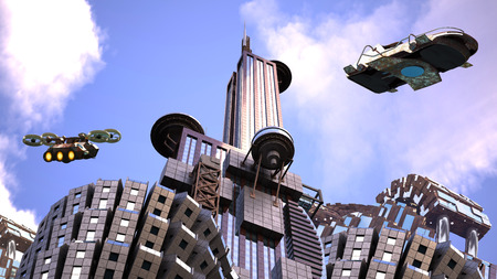 Futuristic cityscape with architectural structures and drones flying against a blue sky