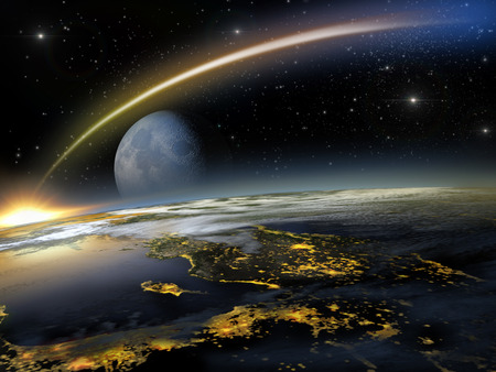 prophecy: Asteroid hitting Earth at a lower altitude with a rising blue moon