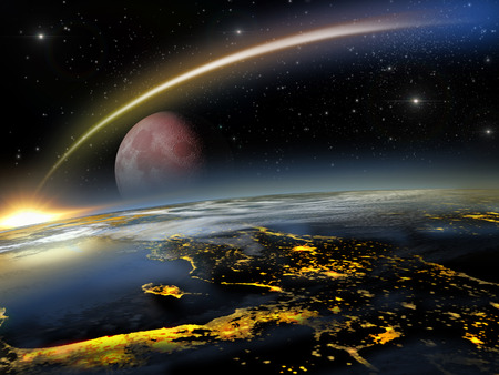 Asteroid hitting Earth at a lower altitude with a rising red moon