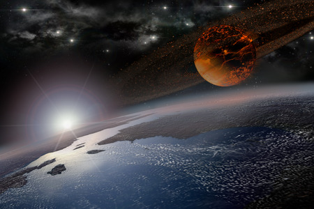 Incandescent celestial body nearing Earth in sunrise Stock Photo