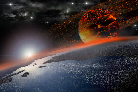 prophecy: Incandescent celestial body nearing Earth in sunrise for apocalyptic or space backgrounds