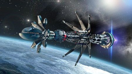 Spaceship with Warp Drive in the initiating state, leaving a glacial planet, for alien   fantasy games or science fiction backgrounds of interstellar deep space travel Imagens - 32837144