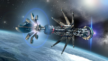 Futuristic military spacecraft with a warp drive in the initiating state, arriving at a glacial   planet, for alien fantasy games or science fiction backgrounds of interstellar deep   space travel