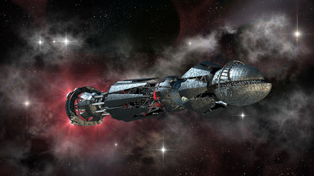 Spaceship in interstellar travel, on a galactic starfield for alien fantasy games or science fiction deep space travel backgrounds