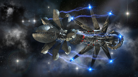 Futuristic military spacecraft in the initiating state of a warp drive, on a galactic star field, for alien fantasy games or science fiction backgrounds of interstellar deep space travel