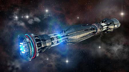 Alien moederschip in diepe ruimte voor futuristische, fantasie of interstellaire reizen achtergronden, weergegeven op een galactische starfield. Stockfoto