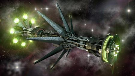 深宇宙の母船の外国人の未来、ファンタジーまたは星間旅行の背景、銀河のスター フィールドに表示されます。 写真素材 - 33269252