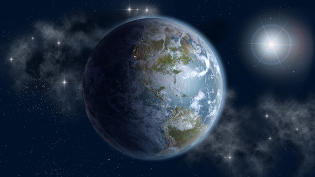 Globe with the North and South American continents in sun rise, on an outer space, starry background.