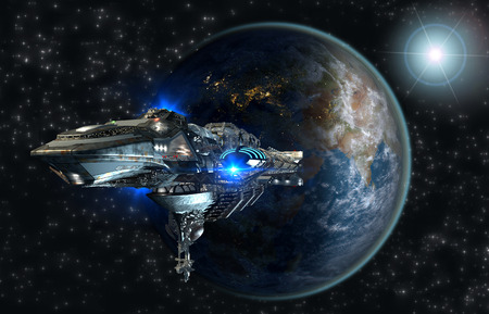 Interstellar spaceship leaving Earth as a 3D concept for futuristic deep space travel for sci-fi backgrounds 스톡 콘텐츠