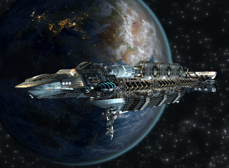 Spaceship fleet arriving to Earth as a 3D concept for futuristic interstellar deep space travel for sci-fi backgrounds