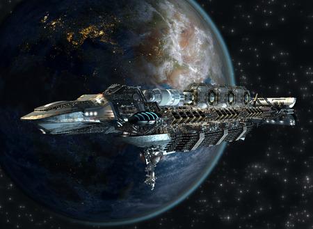 Ruimteschip vloot aankomen op Aarde als een 3D-concept voor futuristische interstellaire diepe ruimte reizen voor sci-fi achtergronden Stockfoto