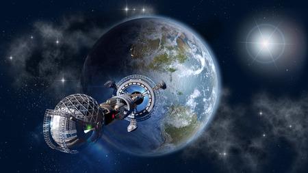 サイエンス フィクションの背景に未来の深宇宙旅行のための 3 D コンセプトとして地球を残して星間宇宙船