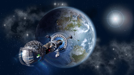 Interstellar spaceship leaving Earth as a 3D concept for futuristic deep space travel for sci-fi backgrounds Stock Photo