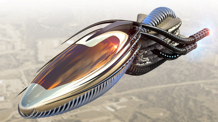 interstellar: Futuristic military spacecraft or surveillance drone for alien fantasy games or science fiction backgrounds of interstellar deep space travel