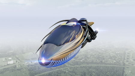 Futuristic military spacecraft or surveillance drone for alien fantasy games or science fiction backgrounds of interstellar deep space travel