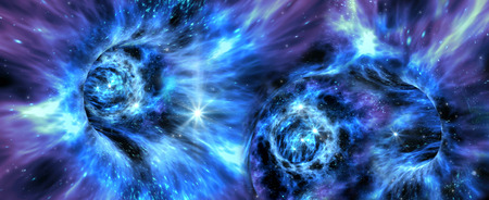 外国人のファンタジー ゲームや恒星間旅行の空想科学小説イラストにエキゾチックなワームホール システムと深宇宙背景 写真素材