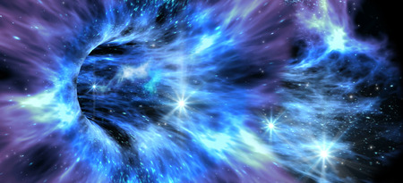 galactic: Deep space background with exotic wormhole system for alien fantasy games or science fiction illustrations of interstellar travel Stock Photo