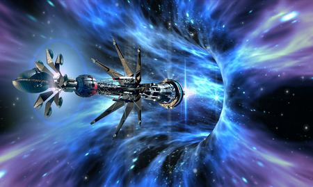 Futuristic spacecraft entering a wormhole, for alien fantasy games or science fiction backgrounds. photo