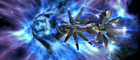 Futuristic spacecraft entering a wormhole, for alien fantasy games or science fiction backgrounds. Stock Photo
