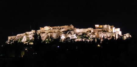 Acropolis panoramic night view in Athens, Geece Stock Photo