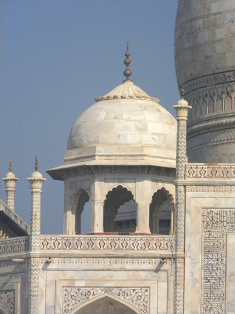 detailed view: Detailed view of the Taj Mahal mausoleum in Agra, India