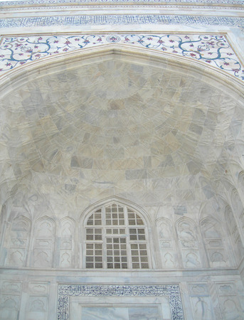 Taj Mahal details with floral inserts Stock Photo
