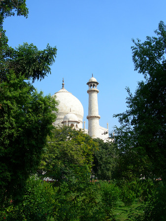 mogul: Taj Mahal mausoleum with dome and minaret tower framed by vegetation