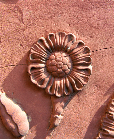 Ceramic floral pattern detail on the Taj Mahal mausoleum in Agra, India photo