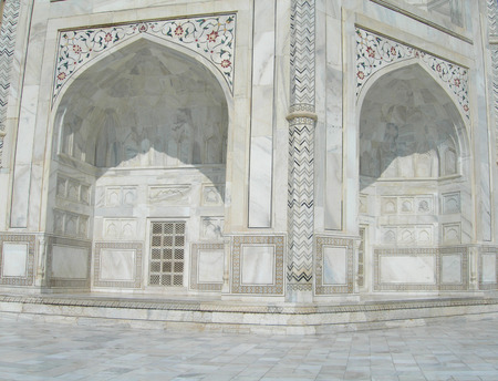inserts: Taj Mahal details with floral inserts and Koran verses Stock Photo
