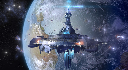 Alien UFO mothership near Earth Stockfoto