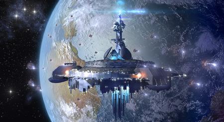 Alien UFO mothership near Earth Foto de archivo