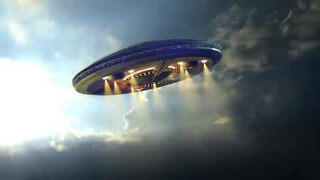 Alien UFO saucer flying on a clouds background above Earth photo