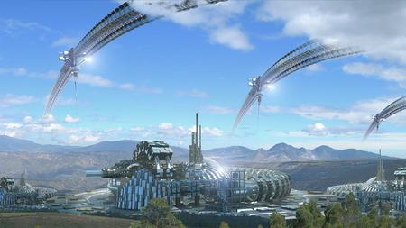 Science fiction technologische architectuur met futuristische koepelvormige architectuur ruimte liften en wielen gecomponeerd in een berglandschap voor futuristische of fantasie achtergronden