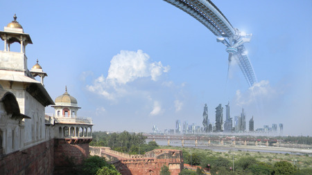 futuristic city: Science fiction technological architecture of a city skyline with skyscrapers space elevator and wheel  composed with the Agra Fort Uttar Pradesh India for futuristic or fantasy backgrounds