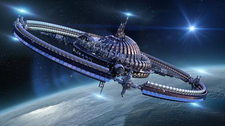 Interstellar spaceship with dome core and gravitation wheel near Earth like planet for futuristic or fantasy backgrounds Foto de archivo