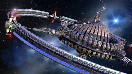 military invasion: Futuristic spherical spaceship with gravitation wheel in interstellar deep space travel