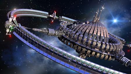 Futuristic spherical spaceship with gravitation wheel in interstellar deep space travel