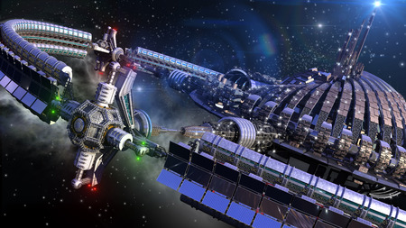 gravitation: Alien spaceship with central dome and gravitation wheel in interstellar deep space travel for futuristic or fantasy backgrounds.