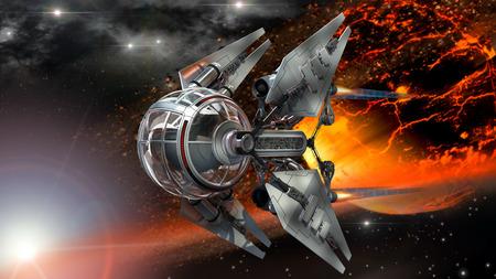 Nave espacial extranjera con avión no tripulado esférica como la vaina al lado de un objeto celeste de fuego o un planeta quemado por futuristas de exploración o de fantasía espacio fondos