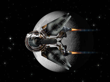 Alien spaceship with spherical drone like pod passing the Moon for futuristic space exploration or fantasy backgrounds Stock Photo