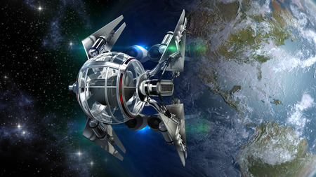 spaceship: Alien spaceship with spherical drone like pod leaving Earth for interstellar deep space travel for futuristic space exploration or fantasy backgrounds.