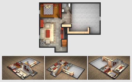 家の計画と終了する地階の 3 つのアイソ メトリック セクション ビューのレンダリング