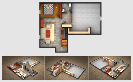 House rendered plan and three isometric section views of a finished basement