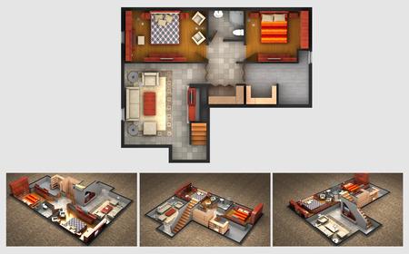 집 렌더링 계획 및 가구 거실 완성 된 지하실의 세 등각 단면도는 저장 공간과 욕실이 침실