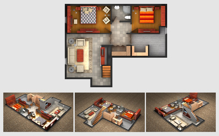 House rendered plan and three isometric section views of a finished basement with furnished living room bedrooms storage area and bathroom Foto de archivo