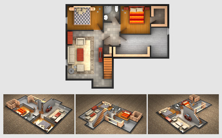 House rendered plan and three isometric section views of a finished basement with furnished living room bedrooms storage area and bathroom 스톡 콘텐츠