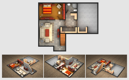 House rendered plan and three isometric section views of a finished basement with furnished living room bedrooms storage area and bathroom.